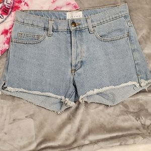 American Apparel Cut Off High Waist Denim Shorts